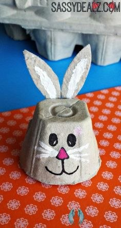 Easy Egg Carton Crafts for Kids - Crafty Morning What a cute little bunny! The things you can do with an egg box are Eggstraordinary #EnjoyEggsMore<br> Here are some frugal and fun egg carton crafts for kids to make! Easy Easter Crafts, Bunny Crafts, Crafts For Kids To Make, Easter Crafts For Kids, Toddler Crafts, Snake Crafts, Dragon Crafts, Craft Fur, Egg Carton Crafts