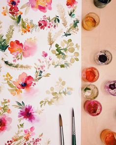 Painting a million little sprigs for a really awesome collaboration with a really awesome client! Wreath Watercolor, Watercolour Painting, Watercolor Flowers, Painting & Drawing, Watercolours, Aquarell Tattoo, Arte Popular, Watercolour Tutorials, Simple Art