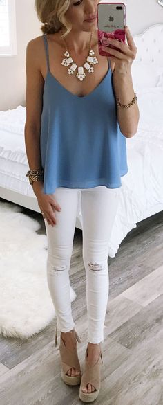 Blue Top & White Ripped Skinny Jeans & Brown Suede