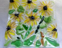 Fused Glass Square Sunflower Platter by Glass Artist Mary Terziani. #rochesterartisans