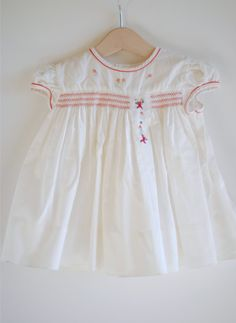 1950s Baby Dress - White with Red Smocking