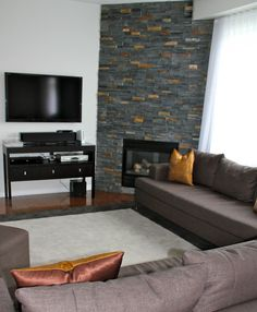Living Room With Corner Fireplace And Tv 1950 living room with a corner fireplace. | living room