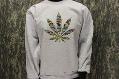 Tribal Pattern in Weed Crew Neck Sweatshirt  Design - Loud - 420 - Hippy - Hipster - Bong - Blunt on Etsy, $24.99