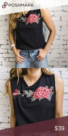 """Sadie and Sage Floral Tank Take your basic tank to the next level.   Details and fit:  100% Cotton Embroidered Flowers. Crew Neck Center Back Length: 24 1/2"""" (taken from small) Armhole Circumference: 24"""" (taken from small) Hand wash, line dry. MADE IN USA Fits oversized, wearing an XS. Sadie & Sage Tops Muscle Tees"""