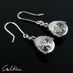 Glass in mesh - kolczyki from Caltha jewellery by DaWanda.com