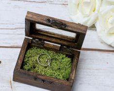 Wedding Ring Box Moss Rustic Wedding Heart Box by HappyWeddingArt