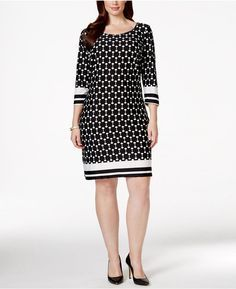 NY Collection Plus Size Printed Sheath Dress Supernatural Style Dress Outfits, Casual Outfits, Fashion Dresses, Lovely Dresses, Beautiful Outfits, Plus Size Dresses, Plus Size Outfits, Big Girl Fashion, Plus Fashion