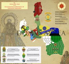 THE HERALDRIC MAP OF THE ECCLESIASTICAL PROVINCE OF LINGAYEN-DAGUPAN - Composed of the Archdiocese of Lingayen-Dagupan and the Dioceses of Alaminos (Western Pangasinan), Urdaneta (Eastern Pangasinan), San Fernando de La Union, San Jose de Nueva Ecija (Northern Nueva Ecija) and Cabanatuan (Southern Nueva Ecija). Designed by: Kendrick Ivan Panganiban Copyright: DOMVS AVREA | 2016