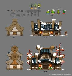 Buildings and environmental clutter from a Chinese game of some sort. (3/5)