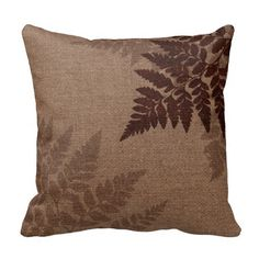 Brown Ferns against Rustic Country Burlap Throw Pillows