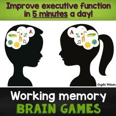 Working Memory Brain Games for kids--these games improve kids' executive functioning in just 5 minutes a day Free assessment tools Brain Memory Games, Memory Games For Kids, Activities For Kids, Elderly Activities, Dementia Activities, Physical Activities, Motor Activities, Working Memory, Visual Memory
