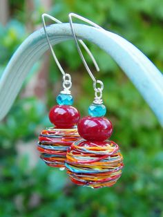 Rainbow Tower Earrings Gorgeous Handmade Lampwork by WillieandLu