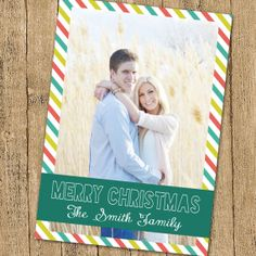 Candy striped Christmas Card