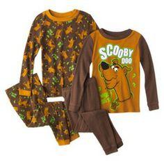 Scooby Doo Toddler Boys' 4-piece Long-Sleeve Pajama Set