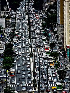 Attention in the number of the cars circulating in the city.   São Paulo City. SP. Brazil