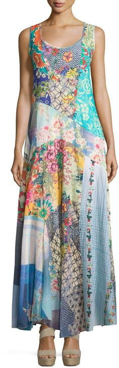 Johnny Was Sleeveless Patchwork Maxi Dress w\/ Slip, Multi