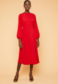 Lantern sleeve dress - red Superbalist Formal | Superbalist.com Hip Bones, Grad Dresses, Body Measurements, Dress To Impress, Lanterns, Crew Neck, High Neck Dress, Dress Red, Formal