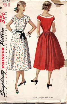 Simplicity 4251 1950s Misses Tea Time Cocktail  Dress Pattern Full Skirt Shaped Neckline womens vintage sewing pattern by mbchills
