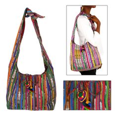 """Guatemalan Recycled Rainbow Bag. Handcrafted by CreArte, an organization dedicated to improving the living conditions of small Guatemalan handicraft producers. CreArte works with organized producers and local fair trade organizations to foster sustainable development and an equitable distribution of income and opportunities. Made with recycled traditional Guatemalan textiles. Cotton-lined. 10"""" T x 12"""" W x 4"""" D. Handmade in and fairly traded from Guatemala"""