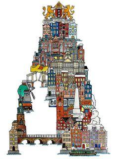 Amsterdam - ABC illustration series of European cities by Japanese illustrator Hugo Yoshikawa http://www.hugoyoshikawa.com/City-ABC