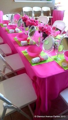 """Photo 9 of 37: Spa Party / Birthday """"Preppy Pink and Green Birthday Party"""" 