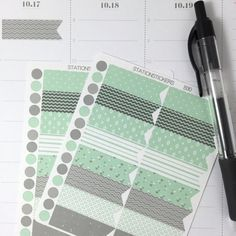 Mint/Grey Page Flag Planner Stickers  B30 by StationStickers