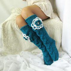 Knee high Socks Valentine& Day gift knit socks Hand knit green-blue socks Hand made socks Wool socks Warm winter socks USD) by Knitting Socks, Hand Knitting, Knit Socks, Womens Wool Socks, Loom Knitting Patterns, Knitting Ideas, Blue Socks, Winter Socks, Knee High Socks