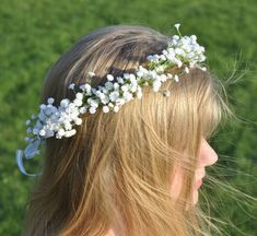 White Babies Breath Wreath, Halo, Floral Crown for your Flower Girl, or your Bridal Headpiece.