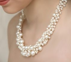 Bridal Pearl Statement Necklace and Pearl Cluster Dangly Earrings and Pearl Bracelet Wedding Jewelry Set