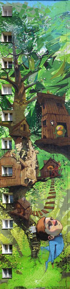 Cuadro sobre edificio. #ilusionOptica #StreetArt