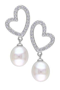 Sterling Silver 9.5-10mm Freshwater Pearl & White Topaz Heart Earrings