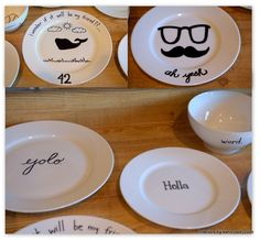 draw on plates with sharpie and bake it