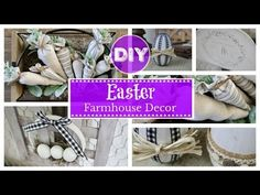 In today's video I share four new easy and affordable Easter décor DIY's. All four projects are perfect for beginner crafters and anyone who loves farmhouse . Diy Videos, Craft Videos, Diy Easter Decorations, Dollar Tree Crafts, Diy On A Budget, Spring Crafts, Cheap Home Decor, Dollar Stores, Farmhouse Decor