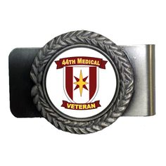Save yourself some future back and hip pain with this good looking Pewter 44th Medical Brigade Veteran Money Clip. That's right, stop sitting on that bulky wallet and upgrade to one of our unique & classy money clips today. Money Clips are 100% made in the USA and make for superb gifts.