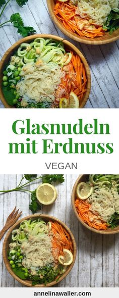 Make vegan noodles yourself, vegan noodles, ravioli vegan, vegetable noodles, vegetables - Recipes for dinner easy and healthy Vegan Lunch Recipes, Healthy Recipes, Quick Recipes, Popular Recipes, Glass Noodle Salad, Vegetable Noodles, Vegan Pasta, Soul Food, Peanuts