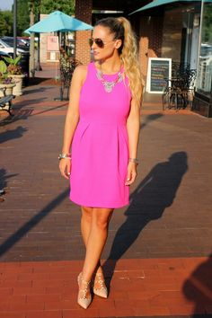 OH SO PRETTY IN HOT PINK dress - ILY Couture Tres Sparkle Statement Necklace with Blonde Ombre Two Toned Hair Color