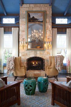 A soaring stone fireplace at Lake Austin Spa Resort | Lonny