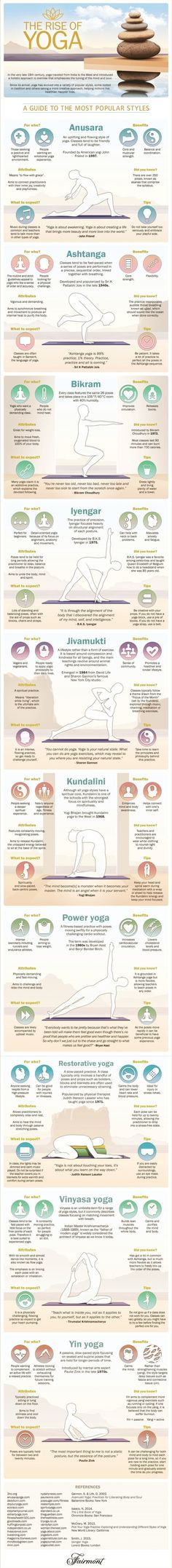 Most Popular Yoga Styles - Health Infographic. Topic: types of yoga, yogi, exercise, poses, postures, Anusara, Ashtanga, Bikram, Kripalu, Hatha, Iyengar, Kundalini, Jivamukti, Prenatal, Restorative, Sivananda, Viniyoga, Yin, Power yoga. www.pinter www.yogaweightlos...