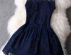 Dark Blue Lace Dress