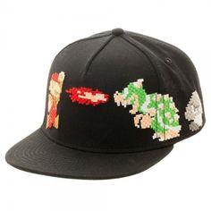 59958bc60d3 Nintendo Licensed Super Mario 8Bit Black Snapback Cap Hat Bowser Goomba  Koopa