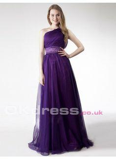 One-shoulder Natural Floor-Length Empire Homecoming Formal Dresses