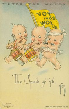 Vintage Kewpie Votes for Women postcard. Illustration by Rose O'Neill. Vintage Cards, Vintage Postcards, Vintage Images, Cupie Dolls, Kewpie Doll, We Are The World, Women In History, Ancient History, Vintage Children