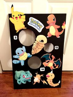 Pokemon bean bag toss  black foam board and Pokemon characters printed out