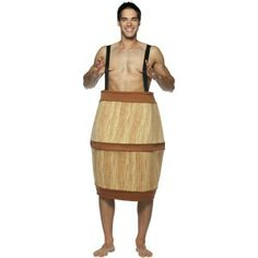 This barrel costume is made from soft comfortable fabric and has attached suspenders to hold it up. I know you're broke but you are supposed to wear something under it. I won't tell, if you don't.