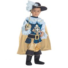 A musketeer costume includes a cape, hat, boots, and other costume pieces. (I would not give the kid the sword but the rest of the outfit is awesome) 34.69
