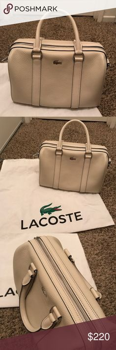 EUC Authentic Lacoste Bag, used only twice, with strap sorry strap was missing but still very elegant to use as hand carry without the strap :) don't worry i reduce the price :) looks very new still. Includes its dust bag. Lacoste Bags