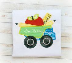 School shirt Back to school shirt Boy dump truck by sewwhimzy