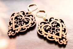 Laser Cut Wood Filigree Heart Dangle Earrings - $22.50 - Handmade Jewelry, Crafts and Unique Gifts by Tresa