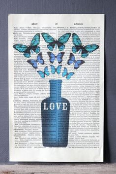 Antique Book Paper Prints - Love Potion with Butterflies
