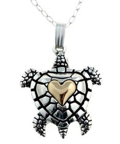 @Overstock - Charming turtle necklace is sure to earn a special place in your jewelry boxJewelry is crafted of sterling silverTurtle pendant features detailed decoration and a polished finishhttp://www.overstock.com/Jewelry-Watches/Sterling-Silver-and-14k-Gold-Turtle-Necklace/565567/product.html?CID=214117 $27.99  I want it so bad :(